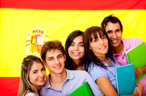 Spanish students with flag.